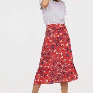 H&M Red Floral Midi Skirt